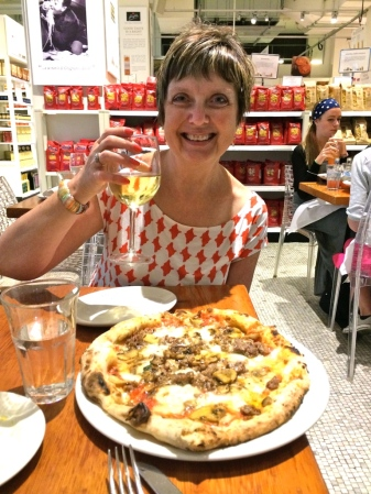 Mom enjoying some grub in NYC's Eataly.