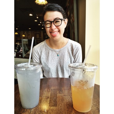 Jenna with her lavender lemonade and my Arnold Palmer at Open Door.