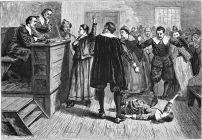 The central figure in this 1876 illustration of the courtroom is usually identified as Mary Walcott.